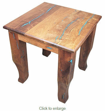 Southwest Mesquite End Table with Turquoise Inlay
