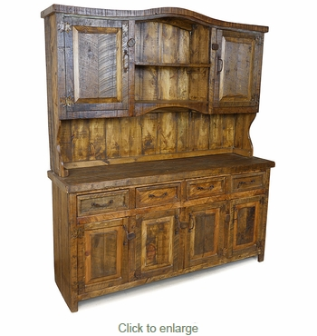 Southwest Ranch Rustic Wood China Hutch