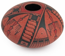 Southwest Red Mata Ortiz Short Vase