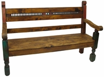 Southwest Style Painted Wood Bench