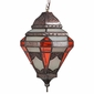 Spanish Colonial Hanging Light with Frosted and Orange Glass