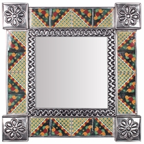 "Square Natural Tin & Talavera Tile Mexican Mirror - 13"" x 13"""
