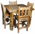 Square Ox Yoke Leg & Inset Slate Top Bistro Table and 4 Stools