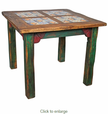 square painted wood dining table with inset tile - Square Wood Dining Table