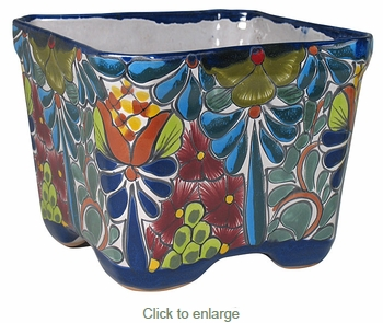 Square Talavera Flower Pot