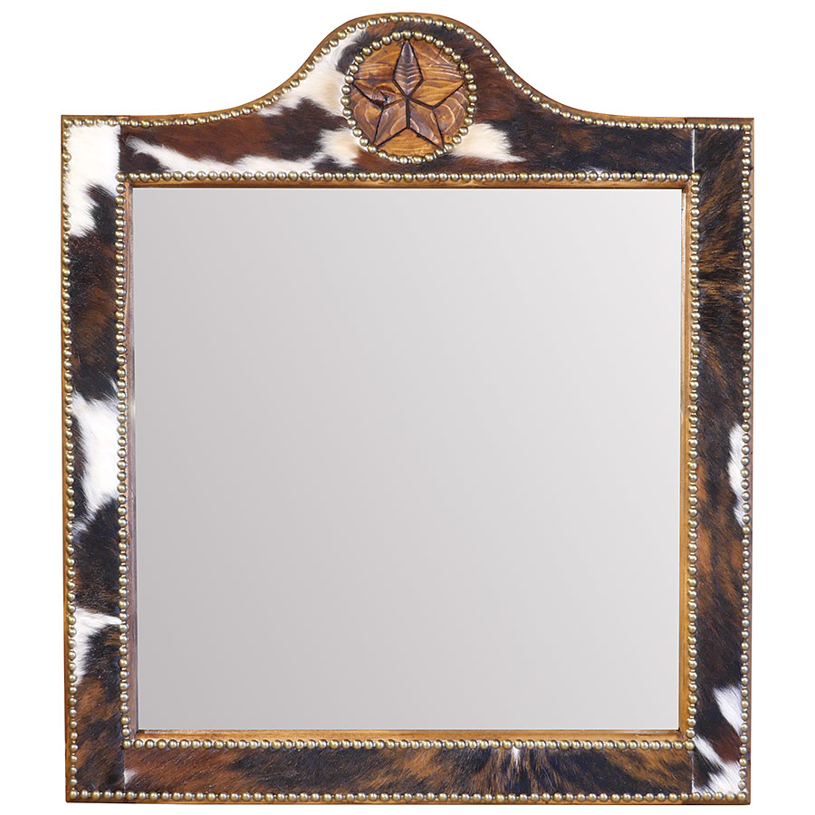 Square Texas Lone Star Mirror with Cowhide Frame