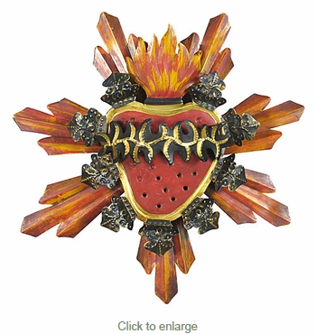 Mexican Sacred Heart Sunburst Wall Decoration 3D Painted Tin - 15
