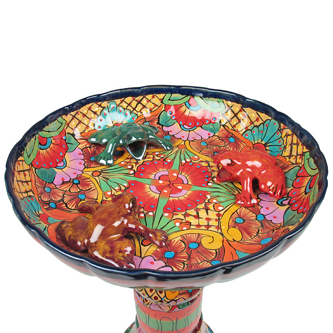 Talavera Birdbath With Frogs