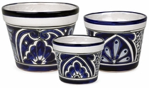 Talavera Blue & White Flower Pots - Set of Three