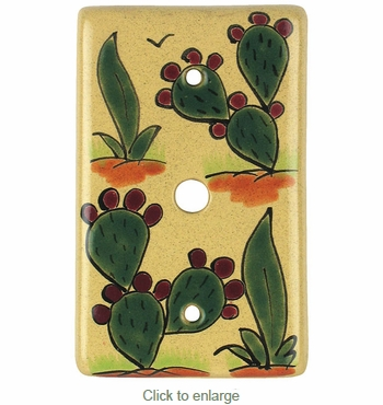 Talavera Cable Plate Cover - Cactus Design