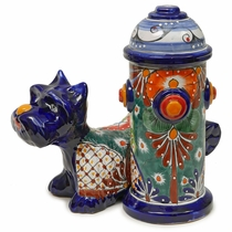 Talavera Scottie Dog with Fire Hydrant Statue