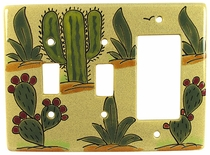 Talavera Double Switch & Rocker Plate - Cactus