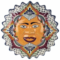 Talavera Framed Hanging Sun Face - 15.5""