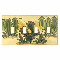 Talavera Quadruple Switch Plate - Cactus Design