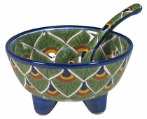 Talavera Salsa Bowl Peacock Design