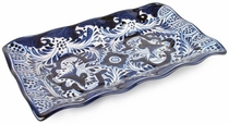 Talavera Scalloped Edge Appetizer Tray - Blue & White