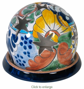 Talavera Sphere Luminary on Base