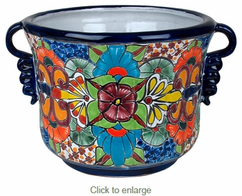Talavera Squash Flower Pot with Handles