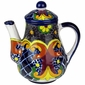 Talavera Tea Pot - Yellow Cross Pattern