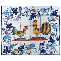 Rooster & Hen Talavera Tile Mural