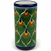 Talavera Water Glass - Peacock Pattern