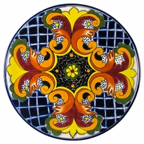 Talavera Yellow Cross with Maroon Dinner Plate
