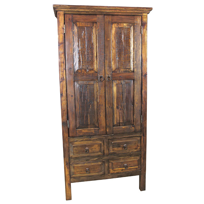Tall Distressed Wood Armoire 2 Doors And 4 Drawers