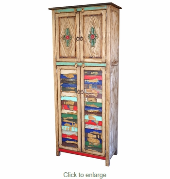 sc 1 st  Direct From Mexico & Tall Painted Wood Cabinet with Colorful Slat Doors and Carving