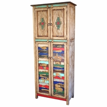 Tall Painted Wood Cabinet With Colorful Slat Doors And Carving