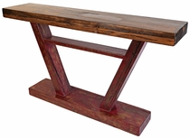 Tall Painted Wood V-Shaped Sofa Table or Standing Bar Table