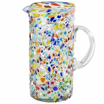 Tall Pebbled Confetti Glass Pitcher