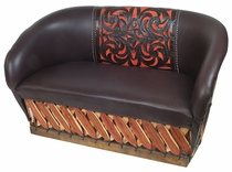 Tanned Cowhide Equipale Leather Loveseat