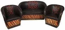 Tanned Cowhide Equipale Loveseat & 2 Chairs Set