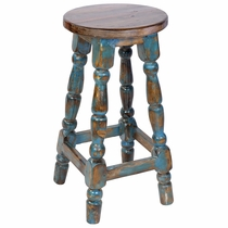 Teal Blue Painted Wood Mexican Turned Leg Bar Stool