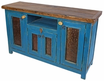 Teal Painted Wood Entertainment Console with 4 Doors