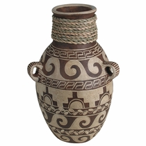 Terra Cotta Whitewash Decorated Vase