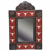 Texas Longhorn Tile and Aged Tin Mirror - Red