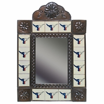 Texas Longhorn Tile and Aged Tin Mirror - Red-White-Blue