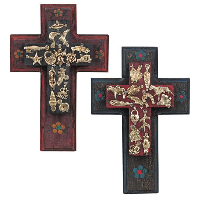 Mexican Cross Mexican Tin Art Southwest Cross Mexican Decor Cross Sacred Art Home Alter Punched Tin