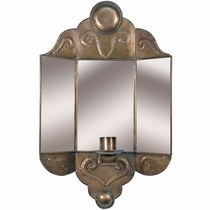 Tin 3-D Mirror Wall Candle Sconce