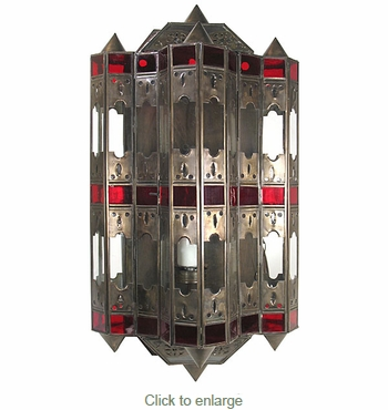 Tin and Glass Gothic Light Fixture