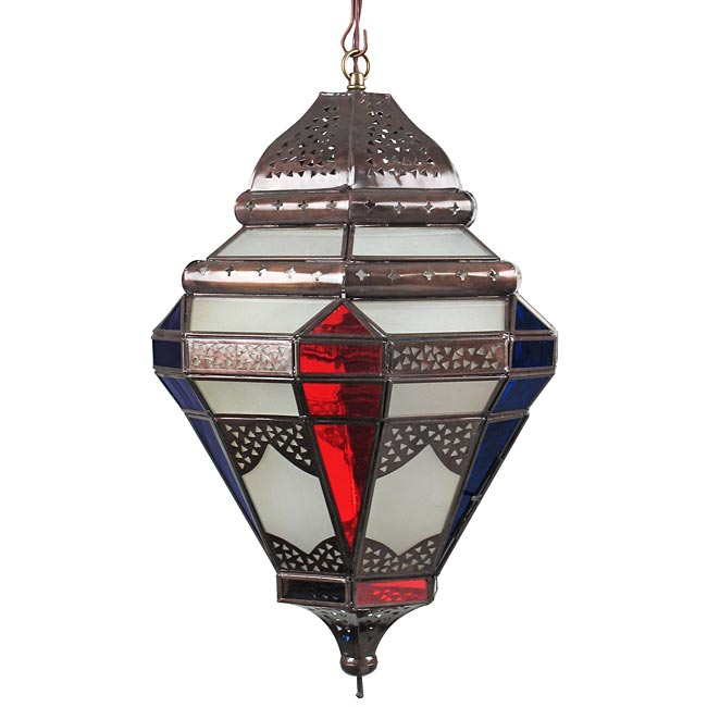 Tin moroccan pendant light with frosted and multi colored glass aloadofball Images
