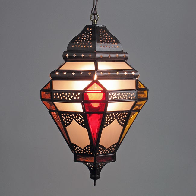 Tin moroccan pendant light with frosted and multi colored glass aloadofball Gallery
