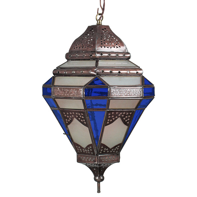 Tin Spanish Colonial Pendant Light With Frosted And Blue Gl