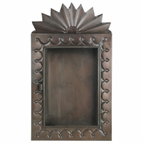 Sunburst Mexican Tin Shadow Box   Hinged Glass Door