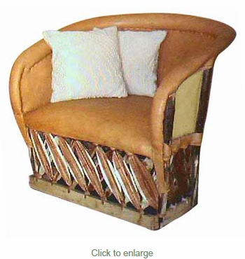 Traditional Equipale Closed Back Cushioned Lounge Chair