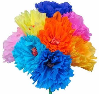 Mexican tissue paper flowers handmade in mexico set of 12 traditional mexican paper flowers bouquet of 12 mightylinksfo