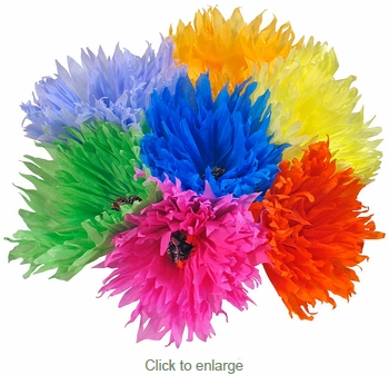 Traditional Mexican Paper Flowers  - Jumbo Size - Bouquet of 6