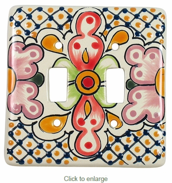 Traditional Talavera Double Switch Plate