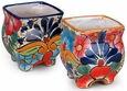 Traditional Talavera Mini Square Seed Pots - Set of 2